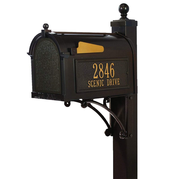 Whitehall Personalized Deluxe Capitol Mailbox Complete System with Post and Address Plaque