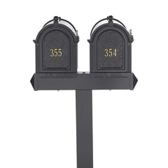Whitehall Products Multi Mailbox Dual Capitol Package Multi 2 Two Family Black Personalized Custom Box Front View