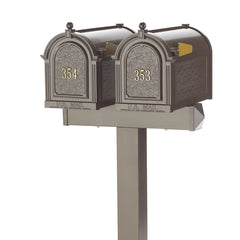Whitehall Products Multi Mailbox Dual Capitol Package Side View Multi 2 Two Family Bronze Personalized Custom Box