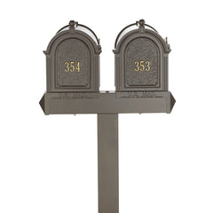 Whitehall Products Multi Mailbox Dual Capitol Package Multi 2 Two Family Bronze Front View Personalized Custom Box