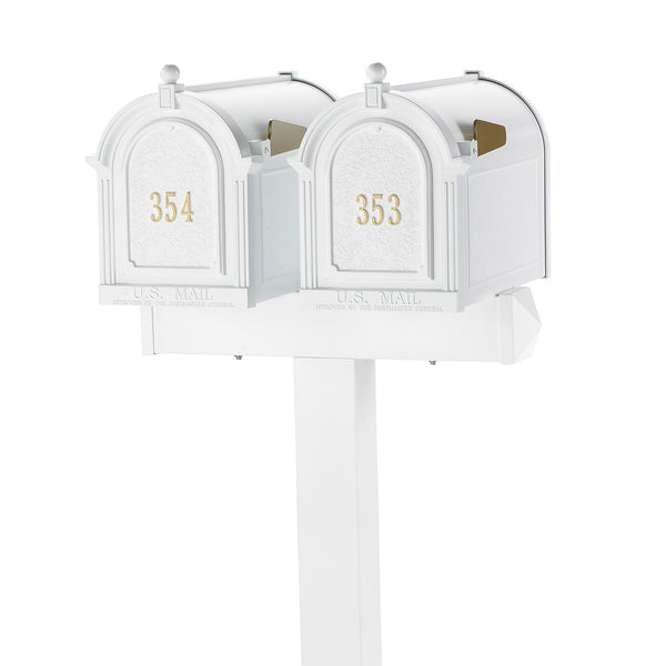 Whitehall Products Multi Mailbox Dual Capitol Package Side View Multi 2 Two Family White Personalized Custom Box