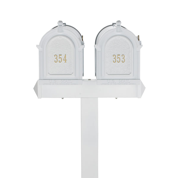 Whitehall Products Multi Mailbox Dual Capitol Package Multi 2 Two Family White Front View Personalized Custom Box