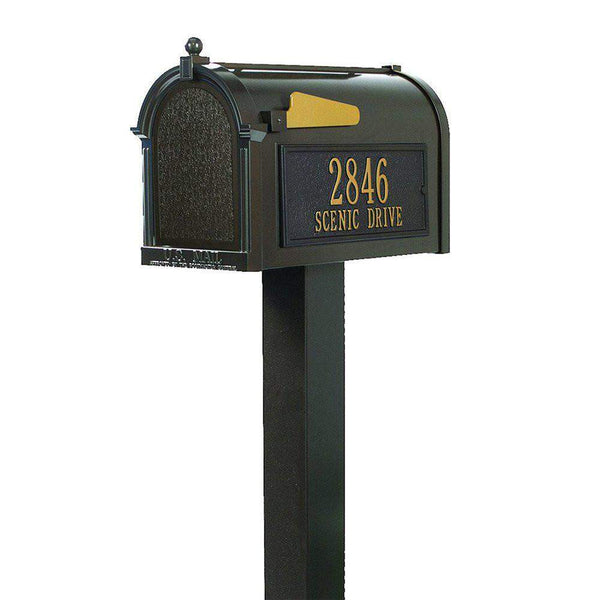 Whitehall Products Customized Premium Mailbox Package with Post, Brackets and Side Plaques