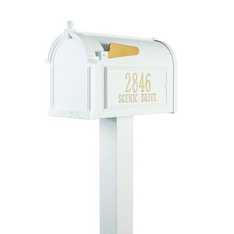 whitehall products customized premium mailbox package with post brackets and side plaques - Whitehall Products
