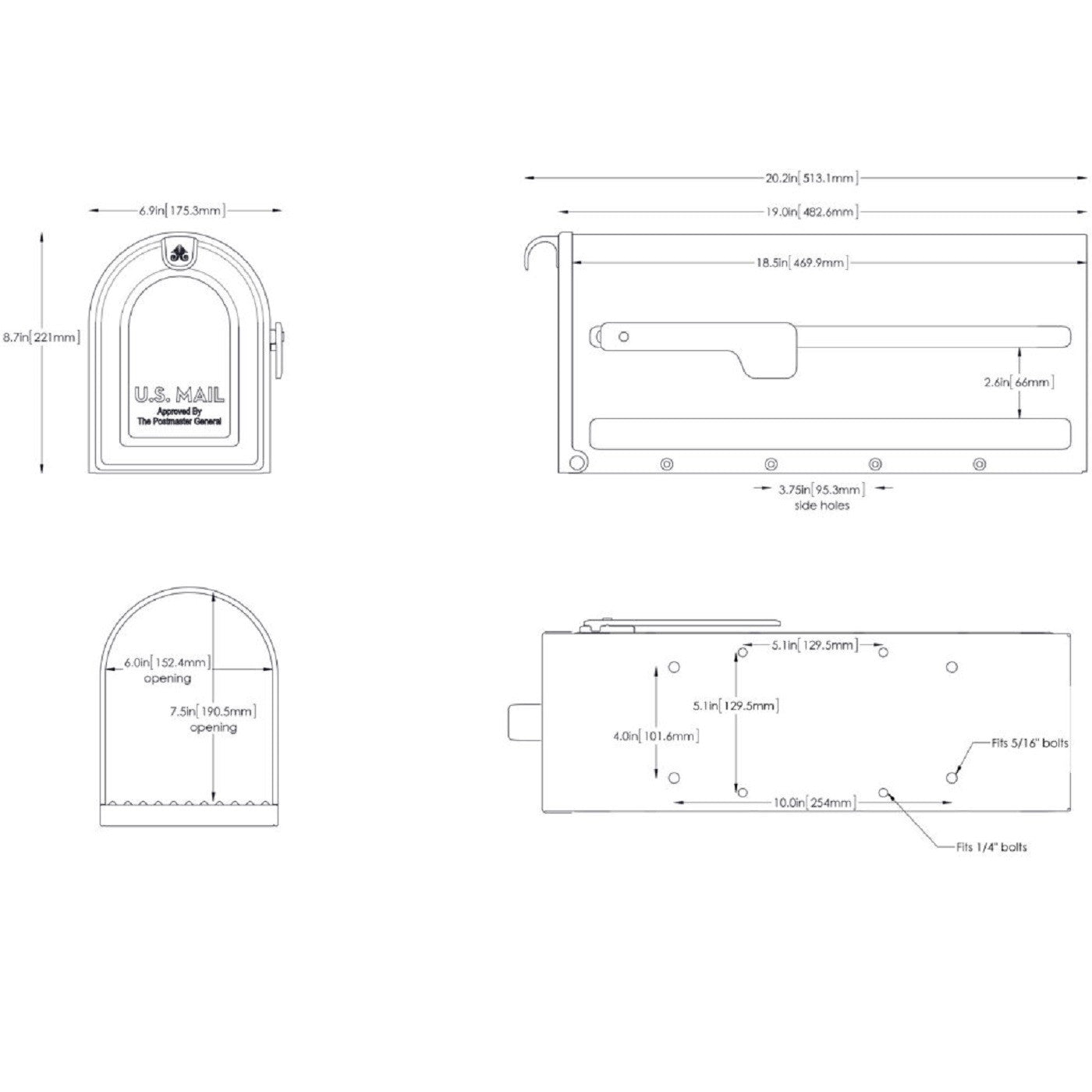mailbox dimensions. Architectural Mailboxes MB1 Powder Coated Post Mount Mailbox Dimensions I