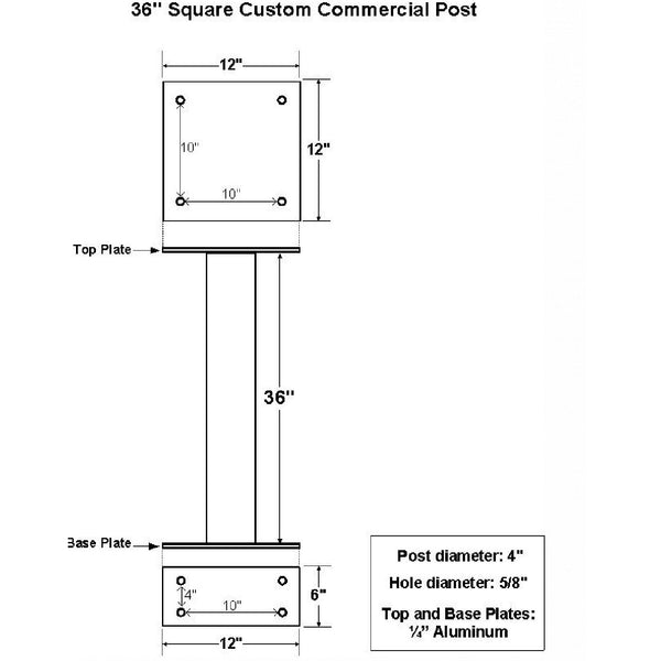 "Jayco Industries 36"" Custom Commercial Surface Mount Post"