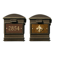 QualArc Lewiston Bayview Complete System with Mailbox, Post and Light; LMC-800-SL Fluer De Lies Bronze Custom Personalized