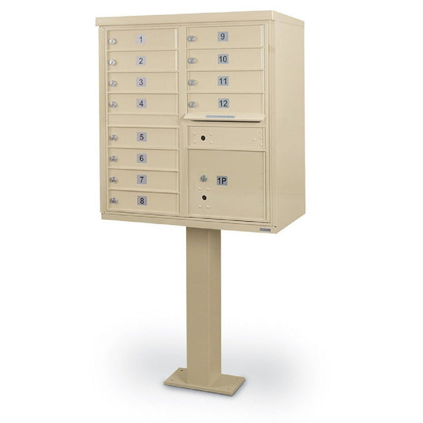 Postal Products Unlimited 12 Door F-Spec Cluster Box Unit with Pedestal Sandstone