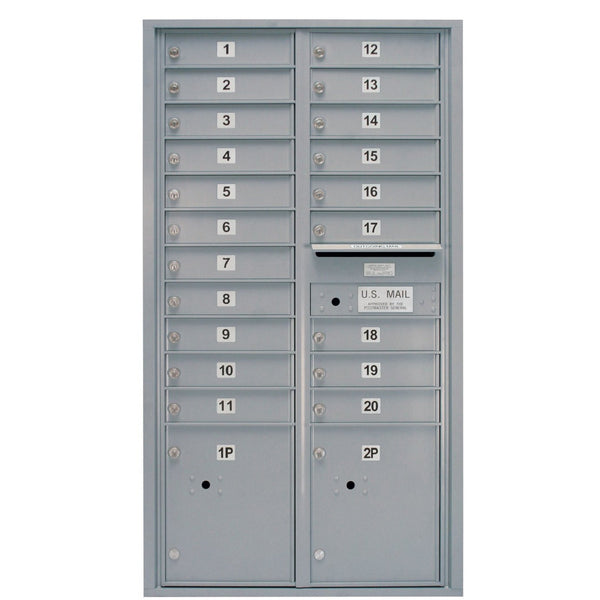 Postal Products Unlimited 20 Door Standard 4C Mailbox with 2 Parcel Lockers