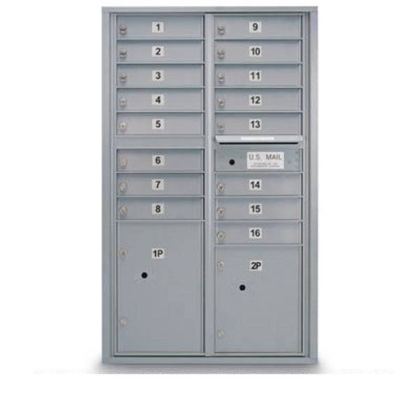 Postal Products Unlimited 16 Door Standard 4C Mailbox with 2 Parcel Lockers