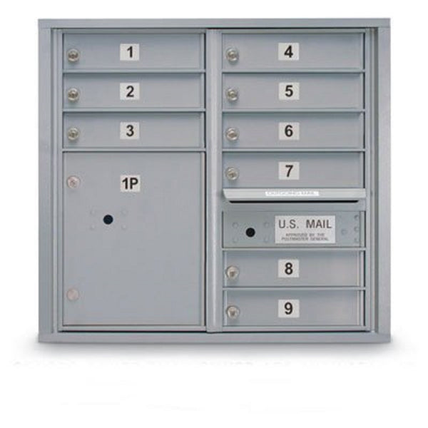 Postal Products Unlimited 9 Door Standard 4C Mailbox with 1 Parcel Locker