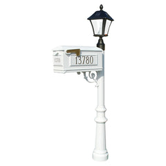 QualArc Lewiston Bayview Complete System with Mailbox, Post and Light; LMC-800-SL White Custom Personalized