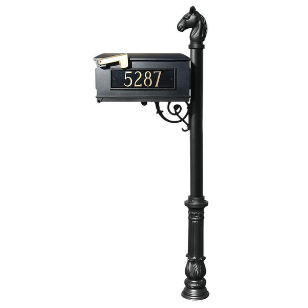 QualArc Personalized Lewiston Equine Complete Post Mailbox System with Ornate Base