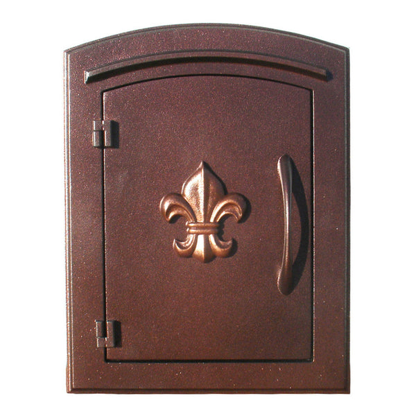 QualArc Manchester Column Mounted Mailbox Decorative Fleur De Lis