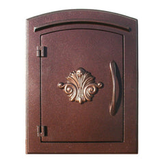 Qualarc Manchester Security Drop Chute Mailbox Decorative Fleur De Lis Door Logo Faceplate
