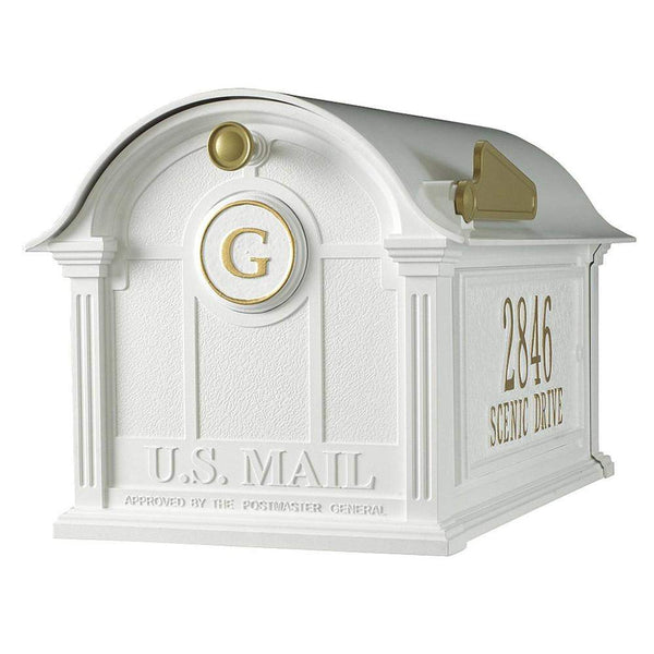 Whitehall Personalized Balmoral Post Mount Mailbox with Side Plaques and Monogram