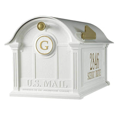 Whitehall Personalized Balmoral Post Mount Mailbox with Side Plaques and Monogram in White