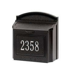 Whitehall Wall Mount Mailbox with customized address plaque in black and silver