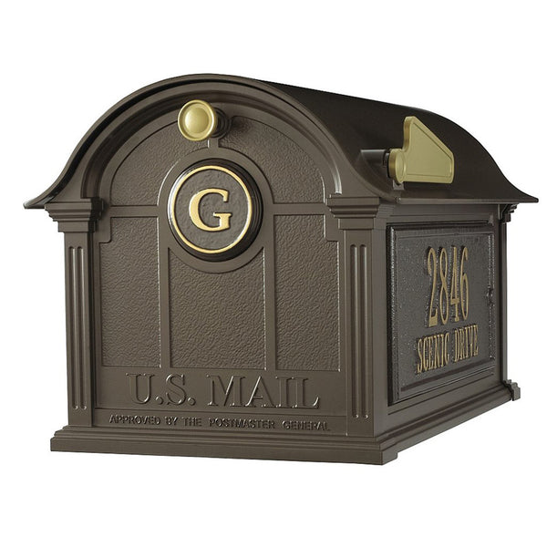 Whitehall Personalized Balmoral Post Mount Mailbox with Side Plaques and Monogram in Bronze