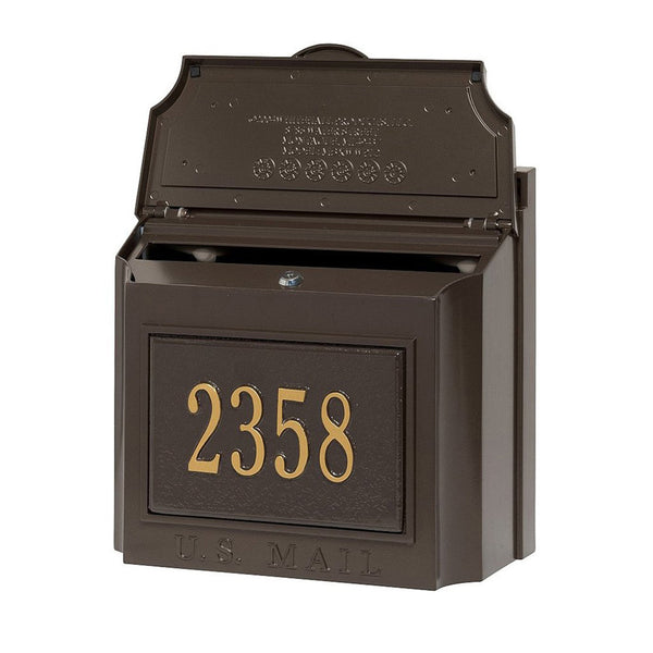 Whitehall Wall Mount Mailbox with customized address plaque in bronze and gold