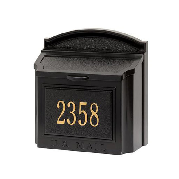 Whitehall Wall Mount Mailbox with customized address plaque in black and gold