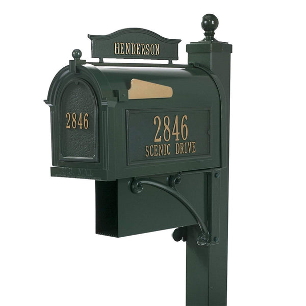 Whitehall Products Personalized Ultimate Capitol Custom Mailbox Package with Address Name and Door Plaque, Newspaper Box