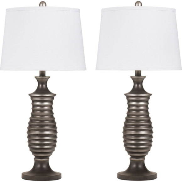 Rory Table Lamp Pair - Antique Silver