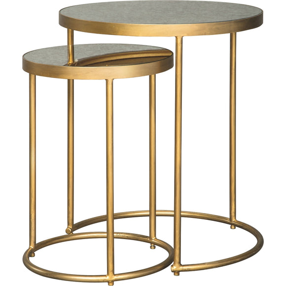 Majaci  Accent Table - Gold Finish/White