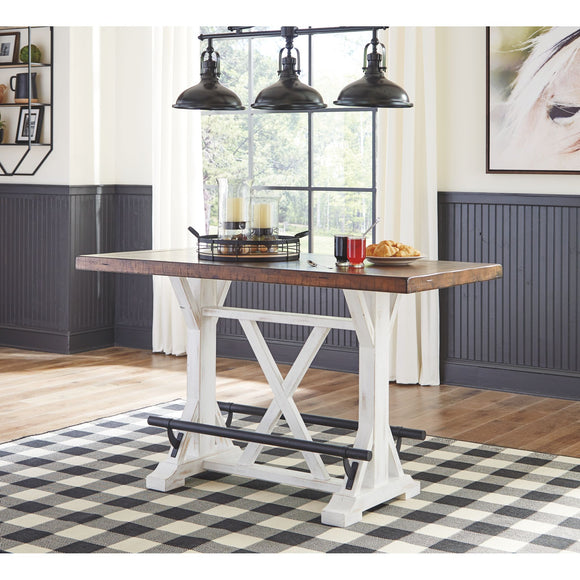 Valebeck Counter Table - White/Brown