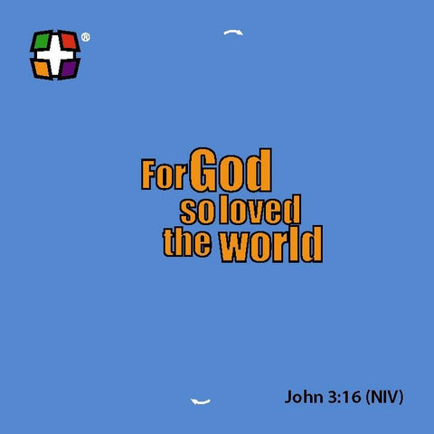 John 3:16 Primary Colors 24/Pk NIV.  Size: 3 3/8  x 3 3/8