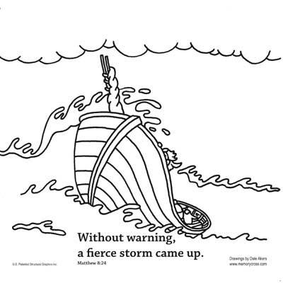 Jesus Calms the Storm Bible Story Card for kids