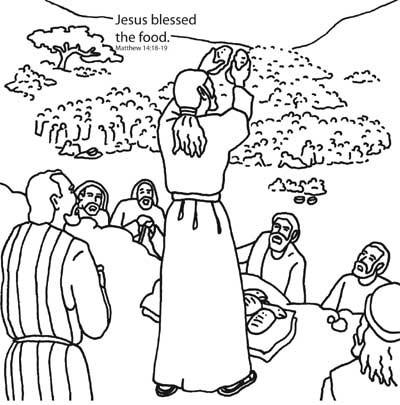 coloring pages of jesus feeding five thousand | Jesus Feeds the Five Thousand Bible Coloring Card