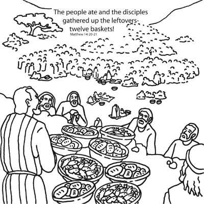 Jesus Feeds the Five Thousand Bible Coloring Card