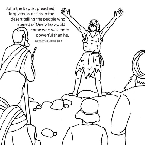 John the Baptist Coloring Card - 12/Pk.  Size: 6 x 6