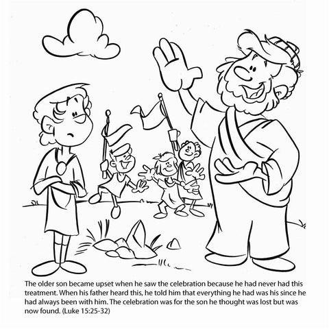 Parable of prodigal bible story card by memory cross for Prodigal son coloring page for preschoolers