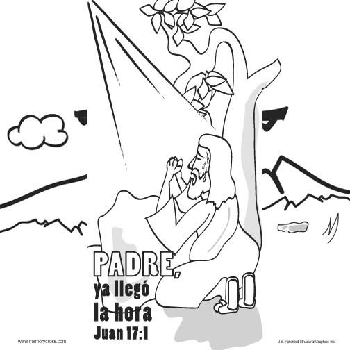 Spanish Easter Memory Cross Coloring Card by Memory Cross
