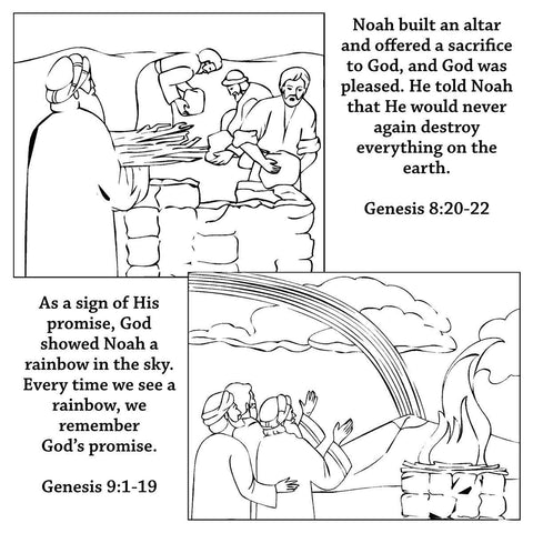 Noah Bible Story Coloring Card by Memory Cross