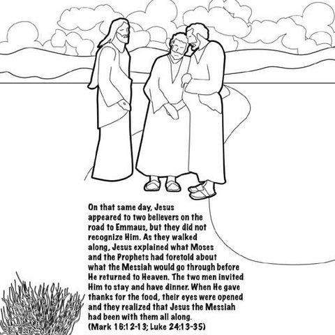 Jesus Lives The Road to Emmaus coloring card by Memory Cross