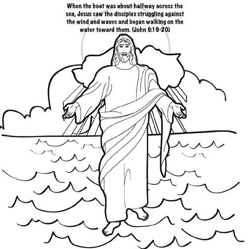 Jesus Walks on Water Coloring Card by Memory Cross
