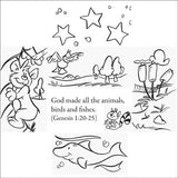 Bible Story Craft coloring cards.  Tell Bible stories from the old and new testament.  12 cards per pack.  Size: 6 x 6