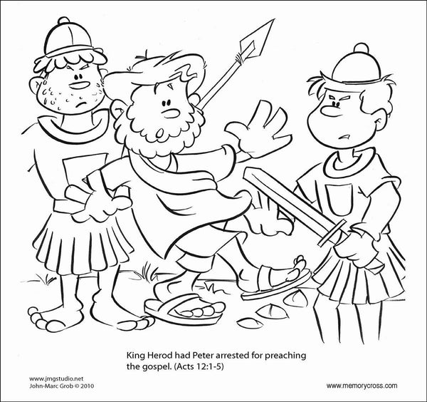 God frees Peter from jail Bible story coloring card by