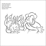 Moses and the Burning Bush Coloring Card - 12/Pk  Size: 6 x 6