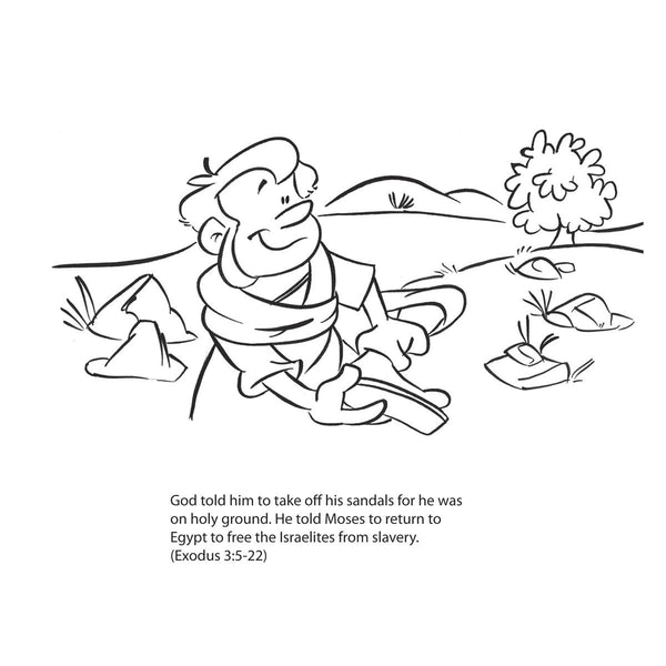 Moses and the burning Bush Coloring Card by Memory Cross