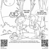 Halloween Coloring Card 12/Pack.  Size: 6 x 6.  Presents the Gospel in an origami coloring book.