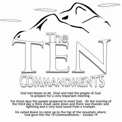 10 Commandments Coloring Card  - 12/Pk.  Size: 6 x 6