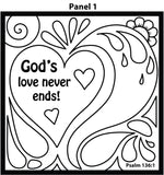 God's Love Doodle Coloring Card 12/Pk.  Size: 6 x 6