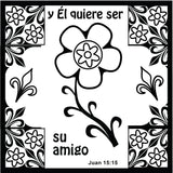 Spanish God's Love Doodle Coloring Card 12/Pk.  Size: 6 x 6