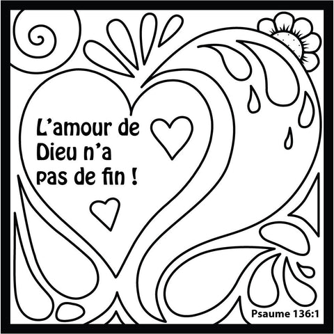God's Love Doodle Coloring Card in French 12/Pk.  Size: 6 x 6