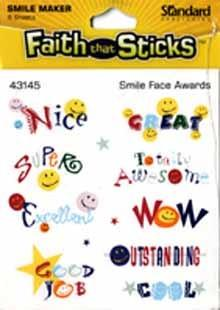 Faith that sticks - Smile Face Awards stickers - 6 sheets per pack