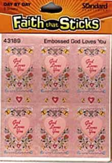 Faith that Sticks Embossed God Love You Stickers - 6 sheets per pack
